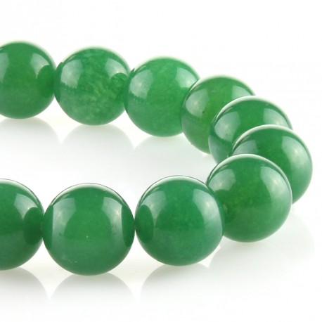 Green jade – 18 mm round beads