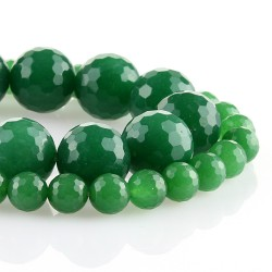 Green Jade - Faceted round beads