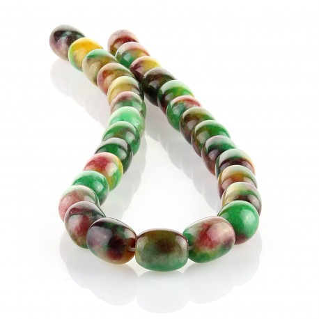 Multicolored jade – 14x11mm barrel carving