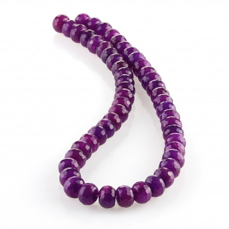 Purple jade – 10 mm faceted rondelle carving