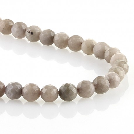 Grey jade - faceted round beads