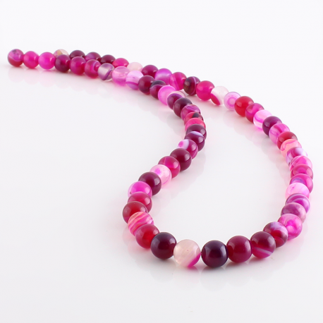 Pink Agate round beads - 6 mm