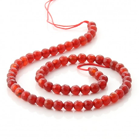 Carneola faceted beads - 6 mm