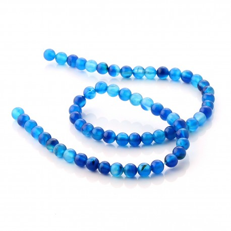 Blue Agate round beads - 6 mm