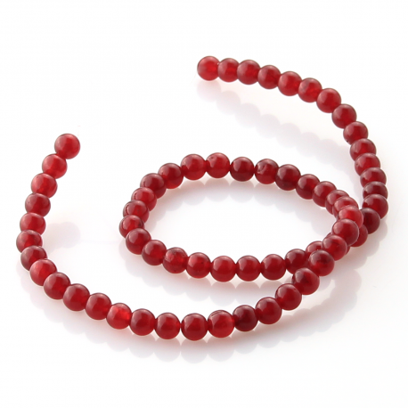 Ruby Jade round beads 6 mm