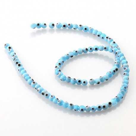 Light blue Turkish Eye Beads 4 mm