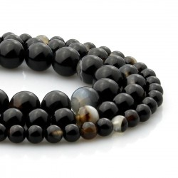Black banded Agate round beads