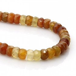 Agate beads amber color rondelle shape