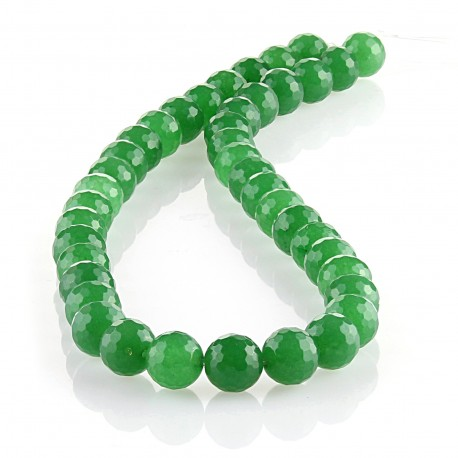 Green Jade - 10 mm faceted round beads