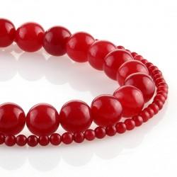 Carmine jade – round beads