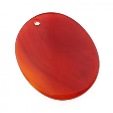 Flat oval carnelian pendant