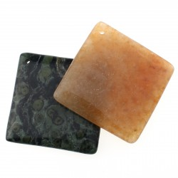 Square pendant of natural stone