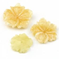 Yellow calcite flower - pink
