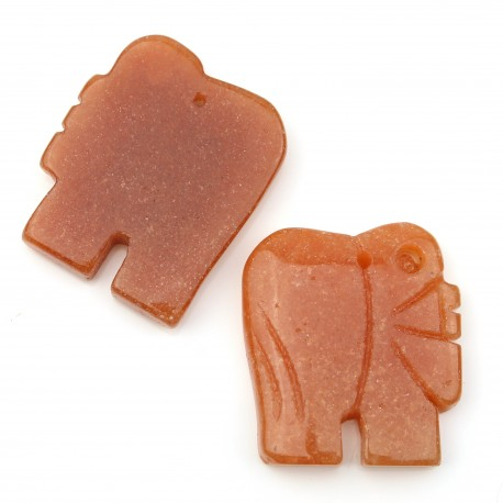 Orange aventurine elephant with hole for embedding