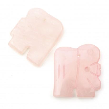Elefante de cuarzo rosa con 2 huecos