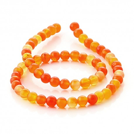 Orange agate spherical beads - 6 mm