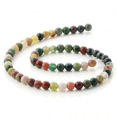 Natural indian agate beads - 6 mm