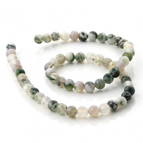 Mossy agate beads 6 mm