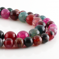 Dragón Agate round beads mix color
