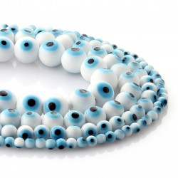 White Turkish Eye glass Beads
