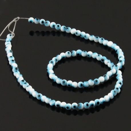White Turkish Eye glass Beads 4 mm