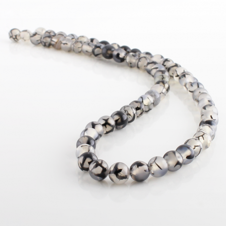 6 mm Gray Dragon Agate round beads