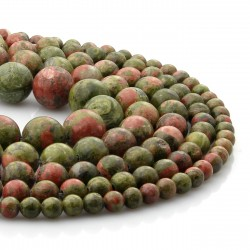 Strands of unakite beads