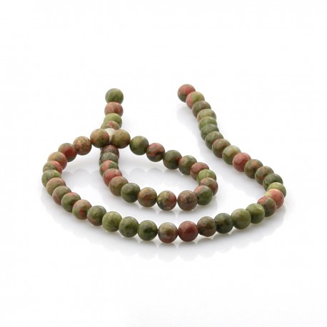 Strands of 6 mm unakite beads