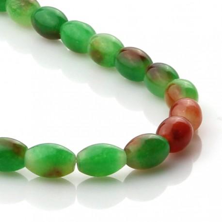 Two-tone jade - olive shape beads