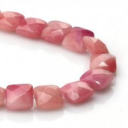 Cuentas briolette de jade rosa