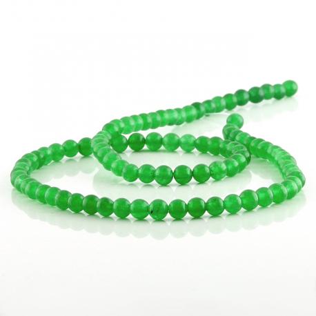4 mm Green jade round beads